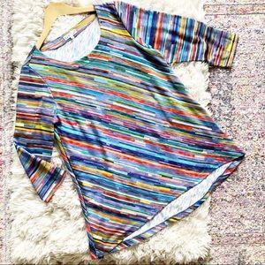Habitat | Rainbow Stripe Pattern Flowy Tunic Top M